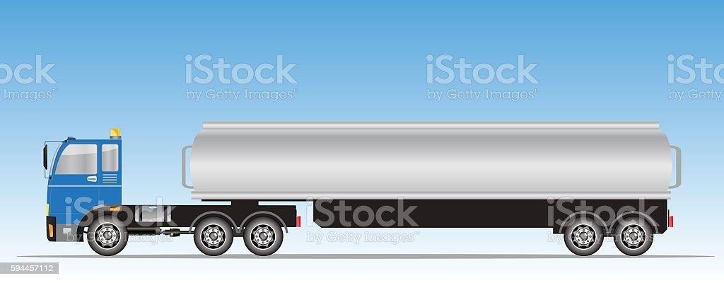 Side view of trailer of Big Oil Tanker vector art illustration