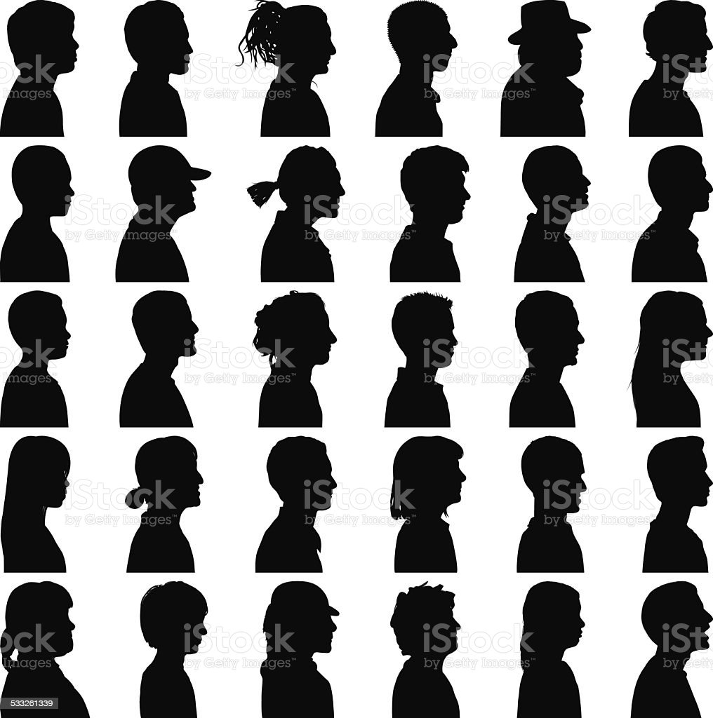 Sides of Heads vector art illustration