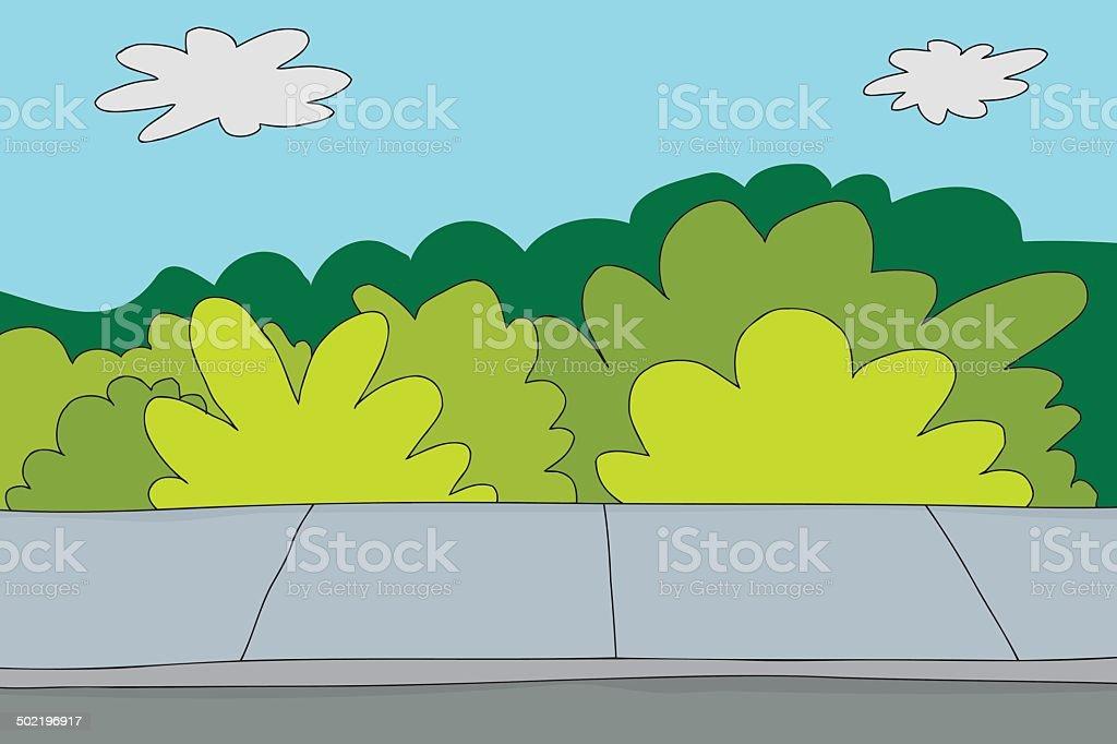 Sidewalk and Bushes vector art illustration
