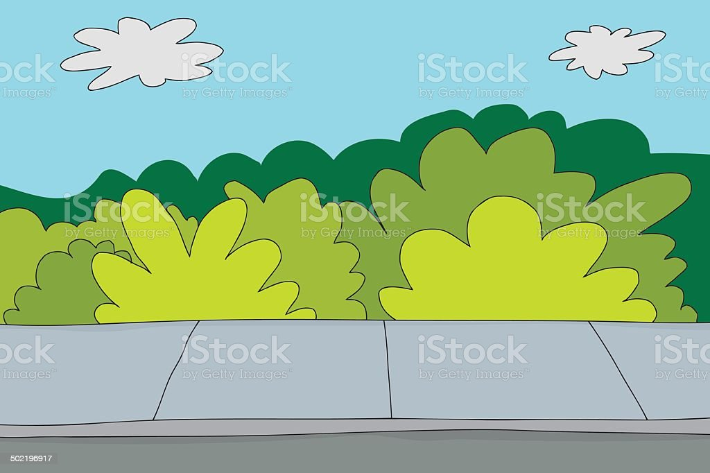 Sidewalk and Bushes vector art illustration