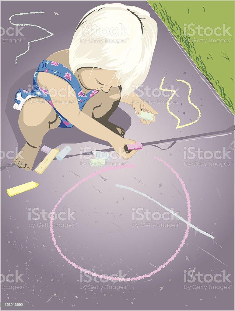 Sidewalk Artist vector art illustration