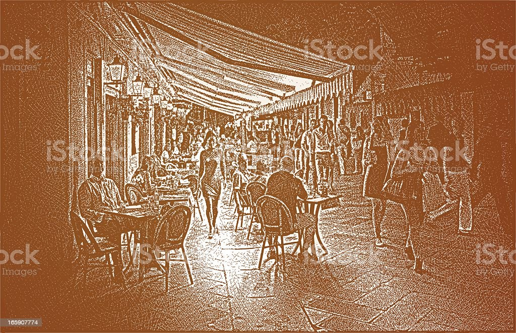Sidewalk Cafe At Night royalty-free stock vector art