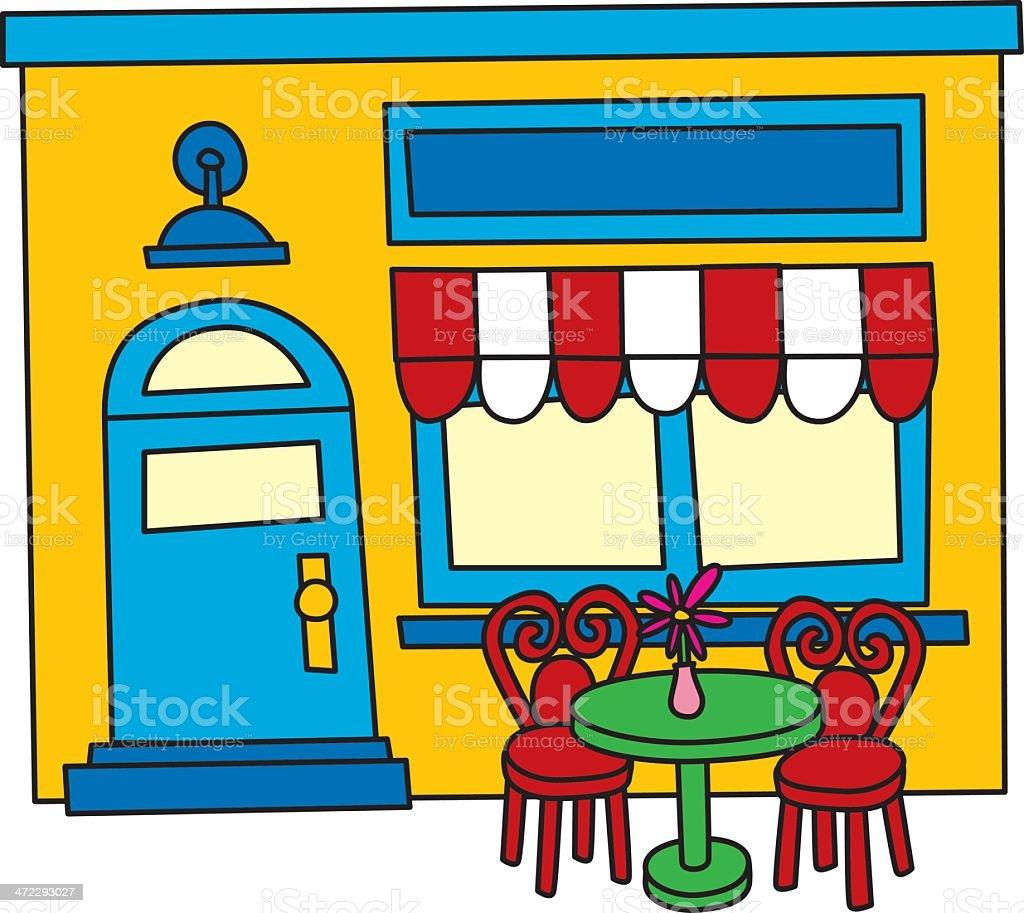 Sidewalk Cafe vector art illustration