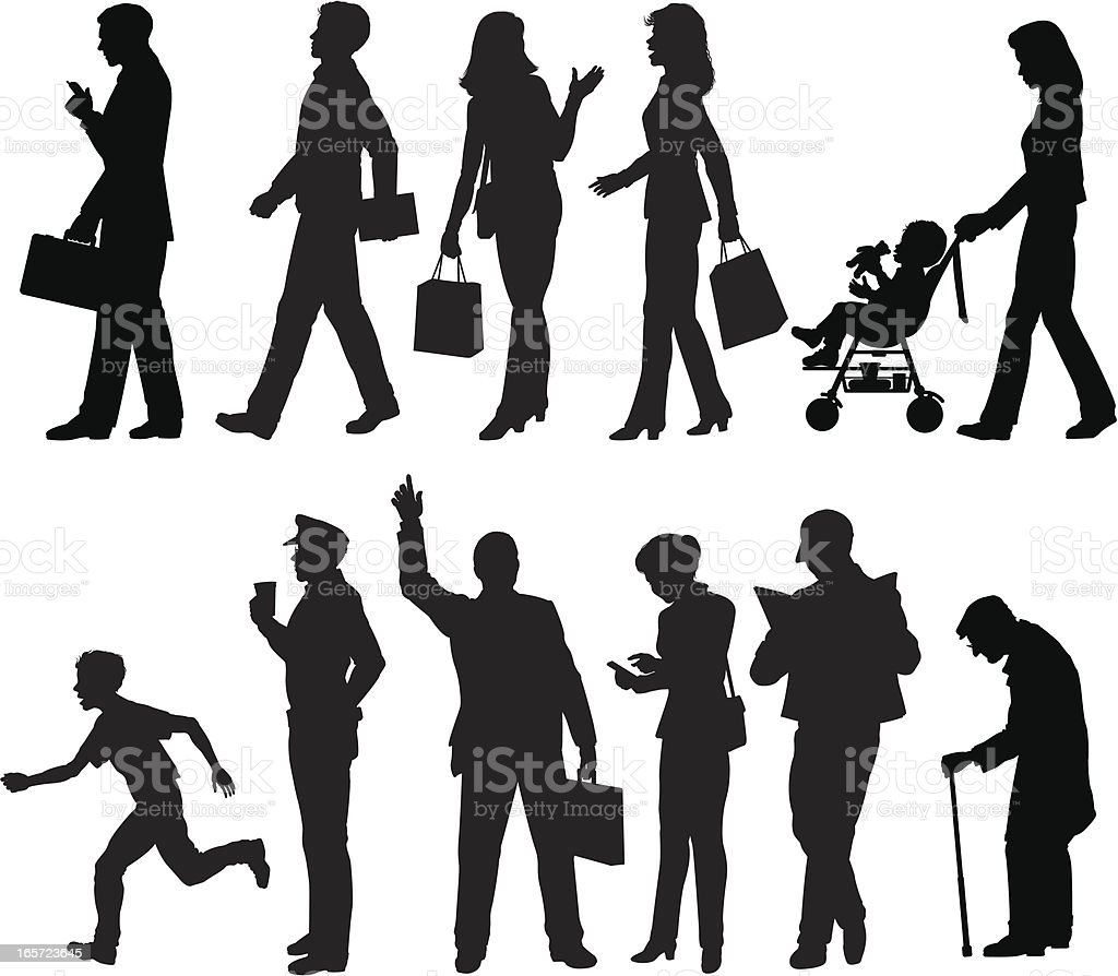 Sidewalk silhouettes royalty-free stock vector art