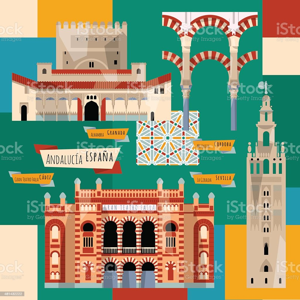 Sights of Andalusia. Seville, Granada, Cordoba, Cadiz, Spain, Europe. vector art illustration