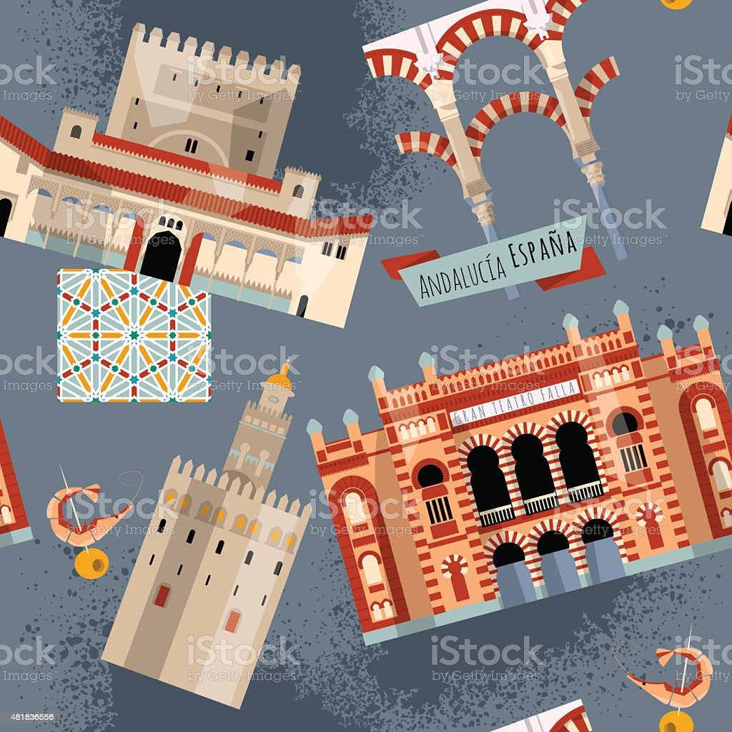 Sights of Andalusia. Seville, Granada, Cordoba, Cadiz, Spain, Europe. Pattern. vector art illustration