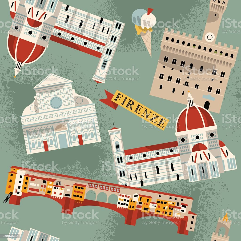 Sights of Florence. Italy, Europe. Seamless background pattern. vector art illustration