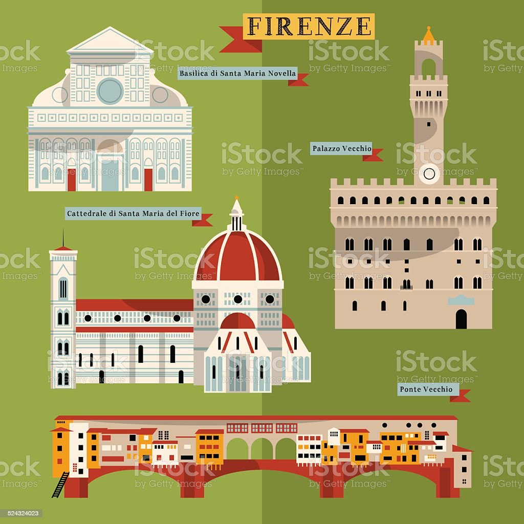 Sights of Florence. Italy, Europe. vector art illustration