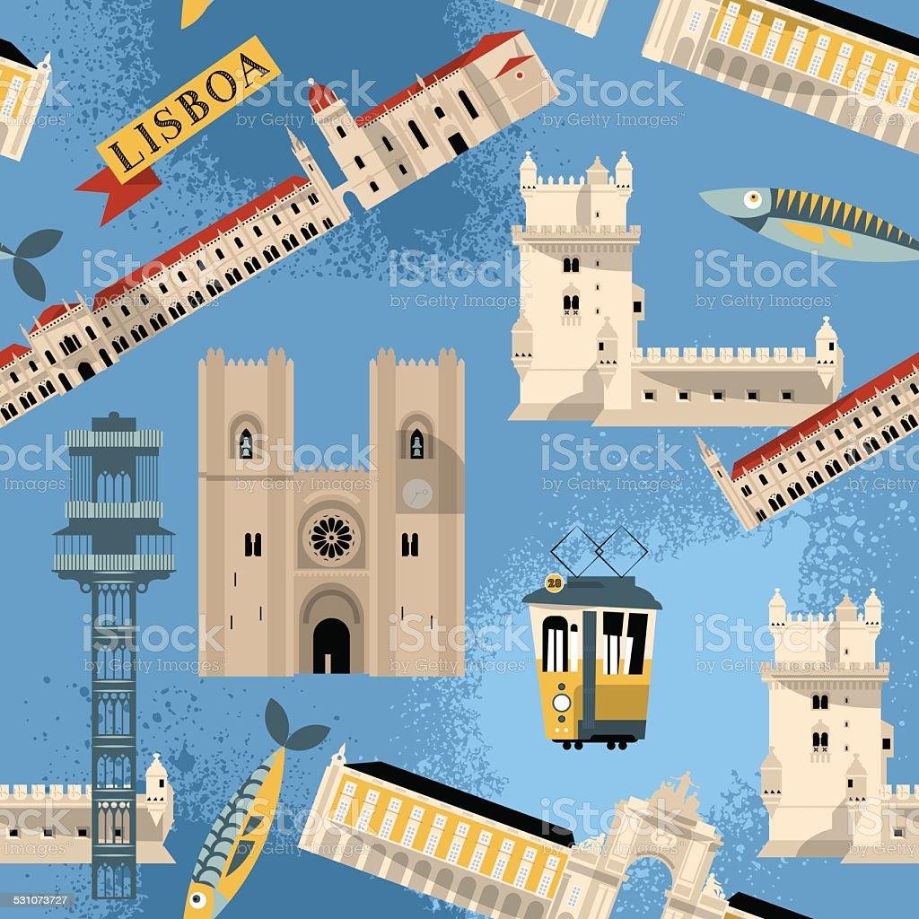 Sights of Lisbon. Portugal  Europe. Seamless background pattern. vector art illustration