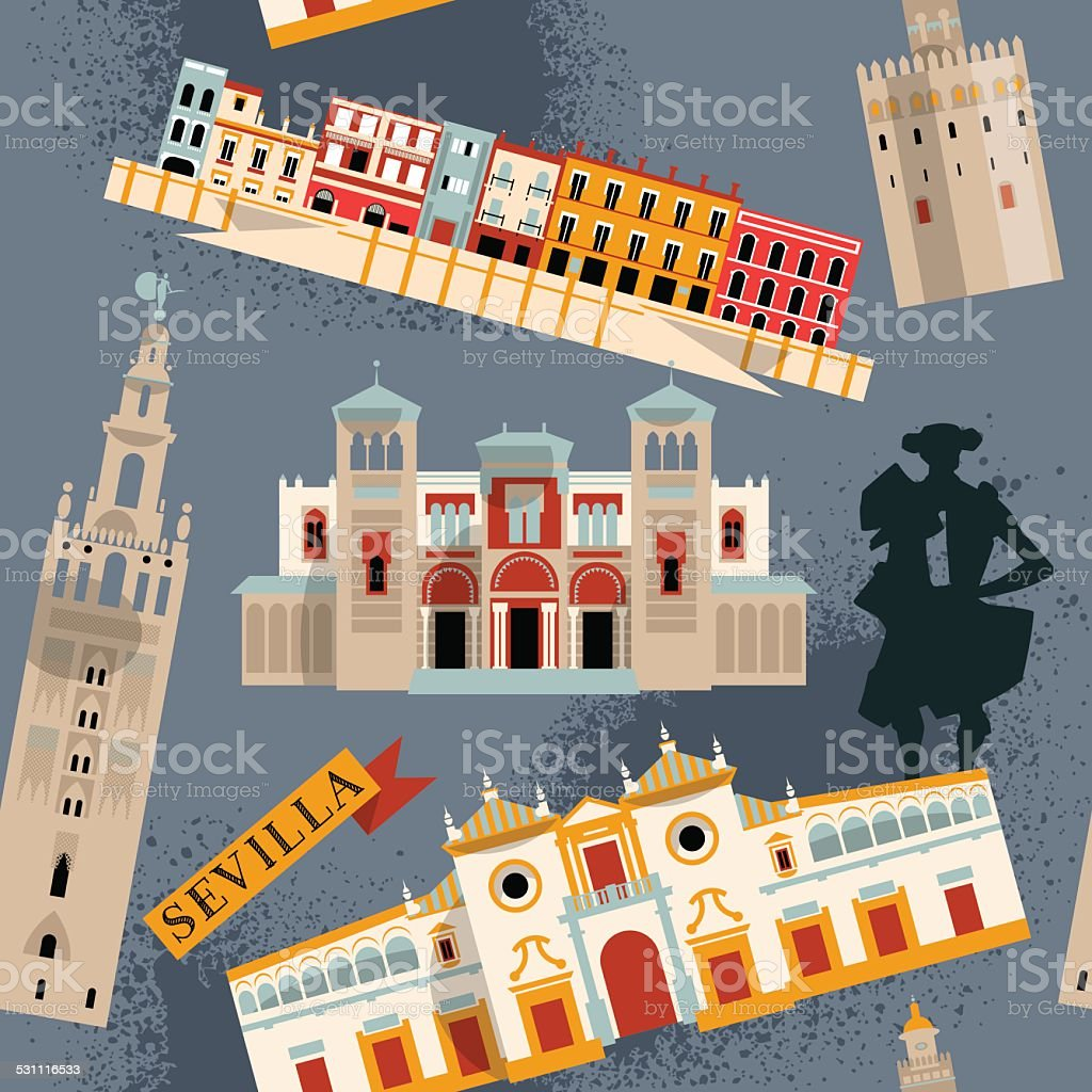 Sights of Seville. Andalusia, Spain, Europe. Seamless background pattern. vector art illustration