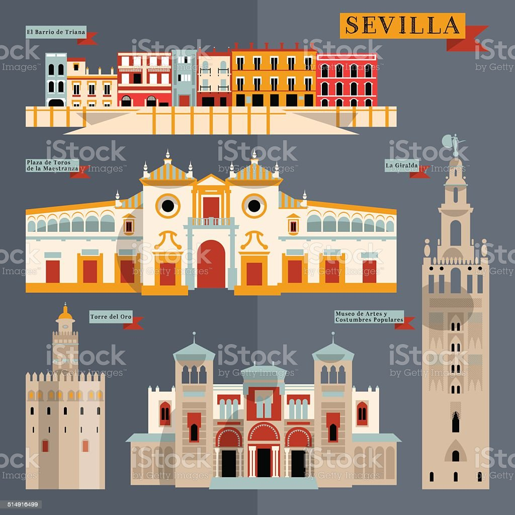 Sights of Seville. Andalusia, Spain, Europe. vector art illustration