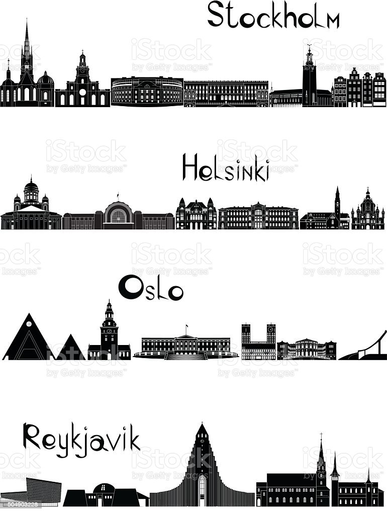 Sights of Stockholm, Oslo, Reykjavik and Helsinki, b-w vector vector art illustration