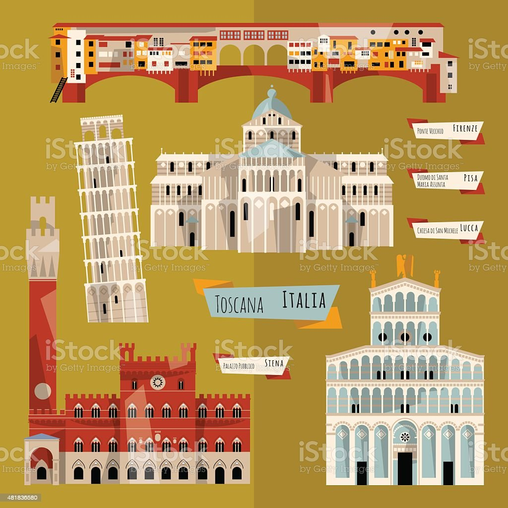 Sights of Tuscany. Florence, Lucca, Pisa, Siena, Italy, Europe. vector art illustration
