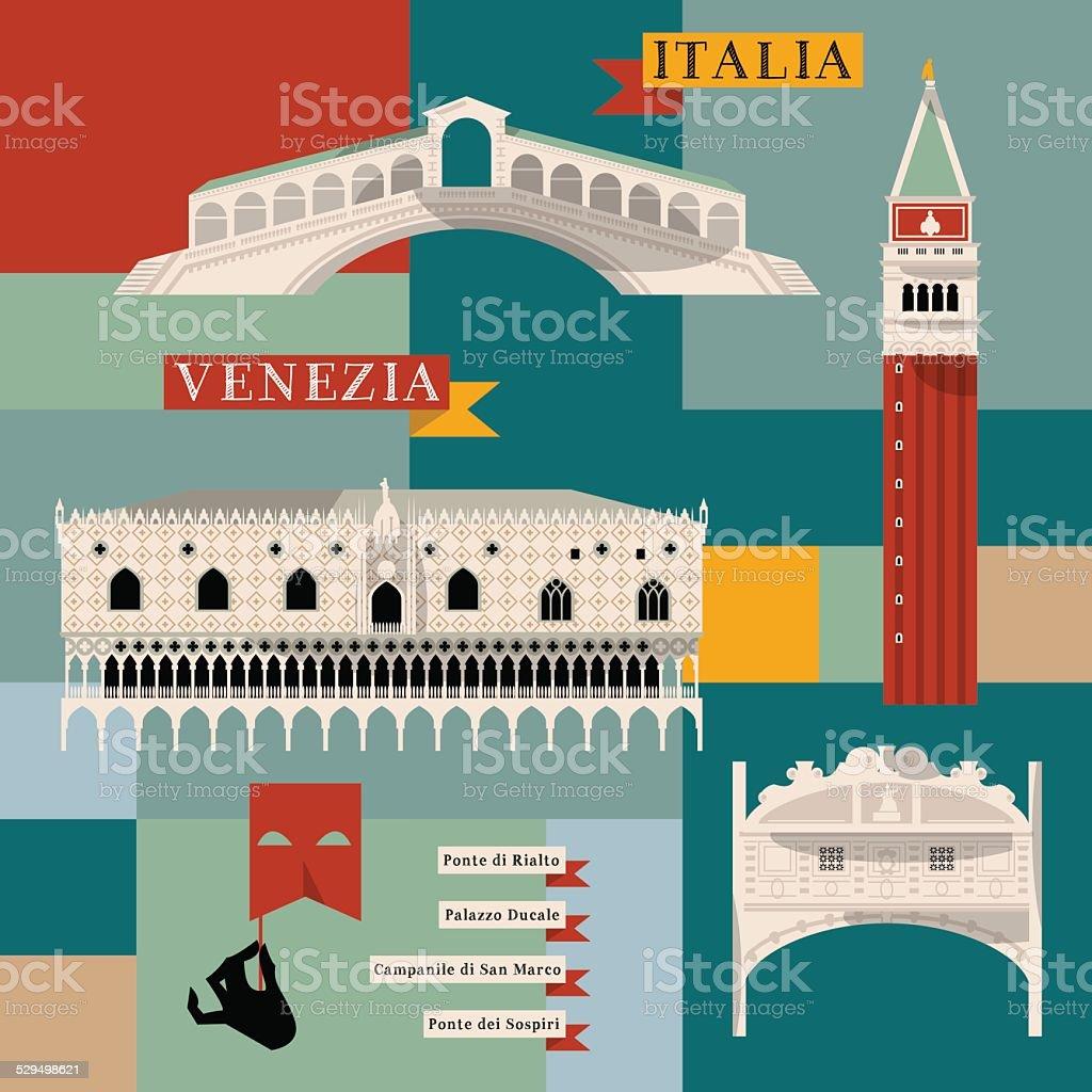 Sights of Venice. Italy, Europe. vector art illustration