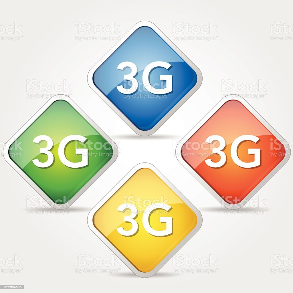 3G Sign Colorful Vector Icon Design vector art illustration