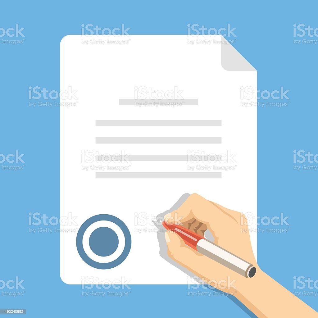 Sign document. Hand holding pen and signing document, business contract vector art illustration
