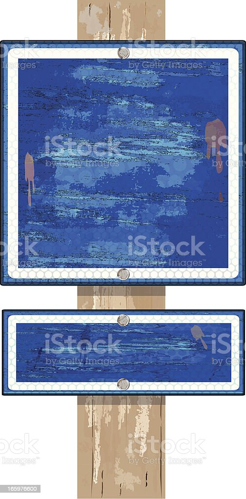 Sign Double on Wood Post   Blue Grunge royalty-free stock vector art