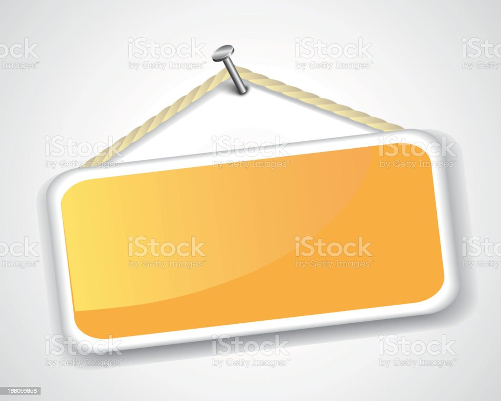 sign hanging on a nail royalty-free stock vector art