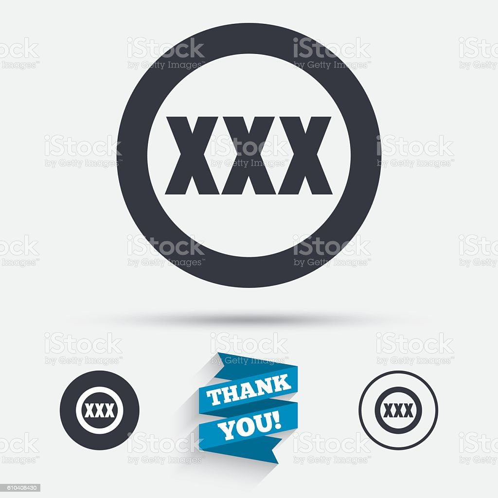XXX sign icon. Adults only content symbol. vector art illustration