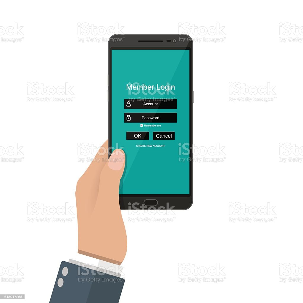 Sign in account on phone vector art illustration