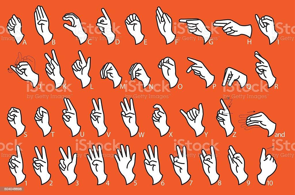 Sign Language - Communication vector art illustration