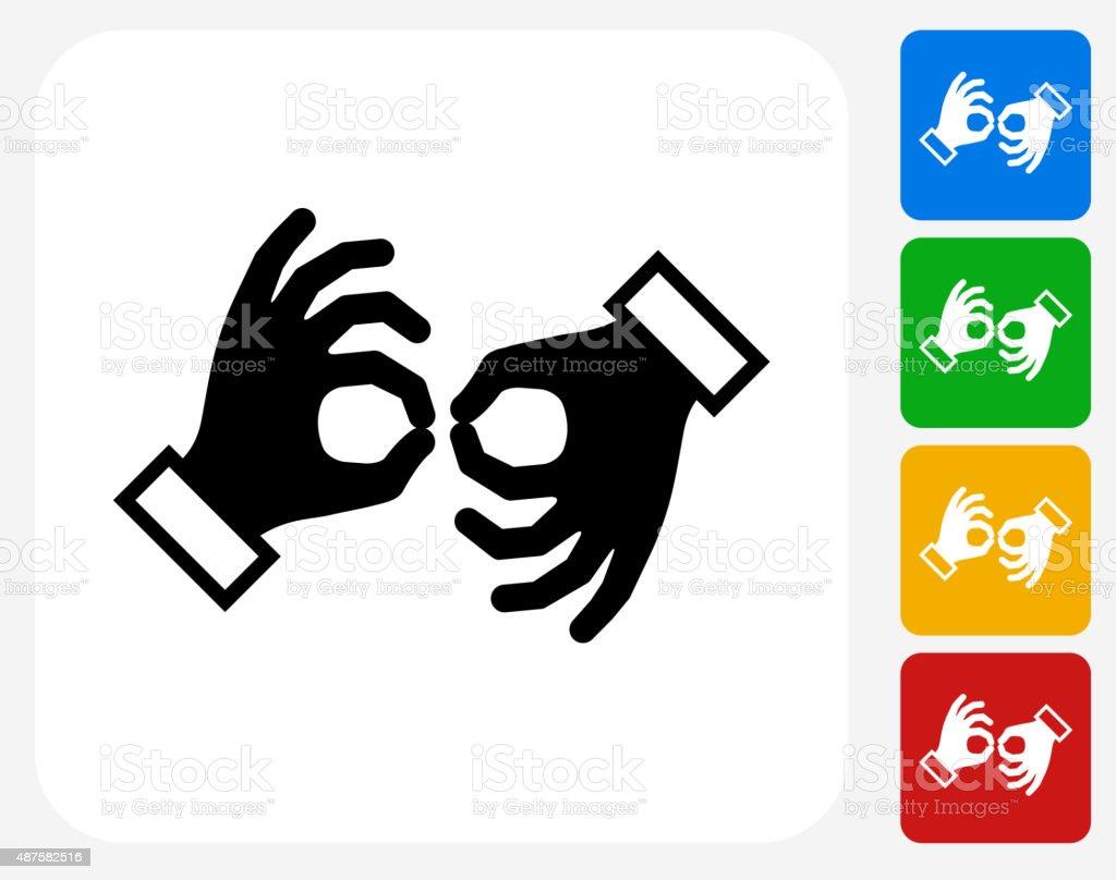 Sign Language Icon Flat Graphic Design vector art illustration