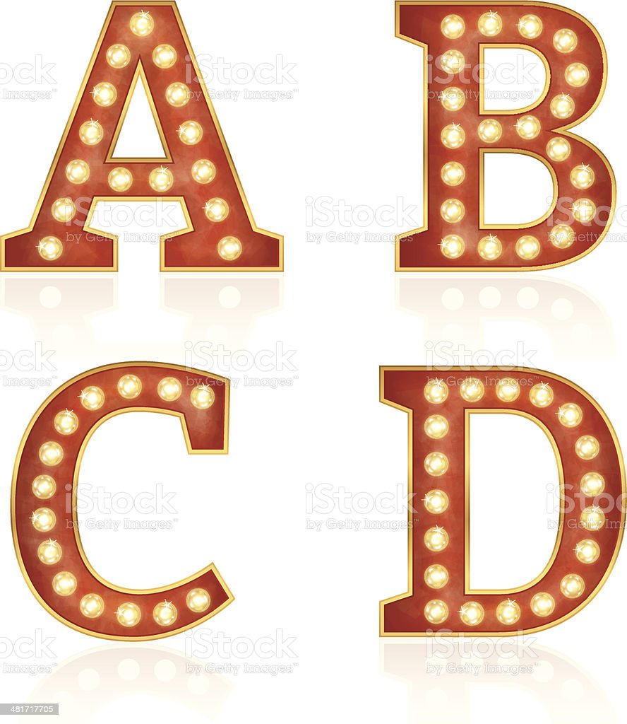Sign letters with lamps - A, B, C, D vector art illustration