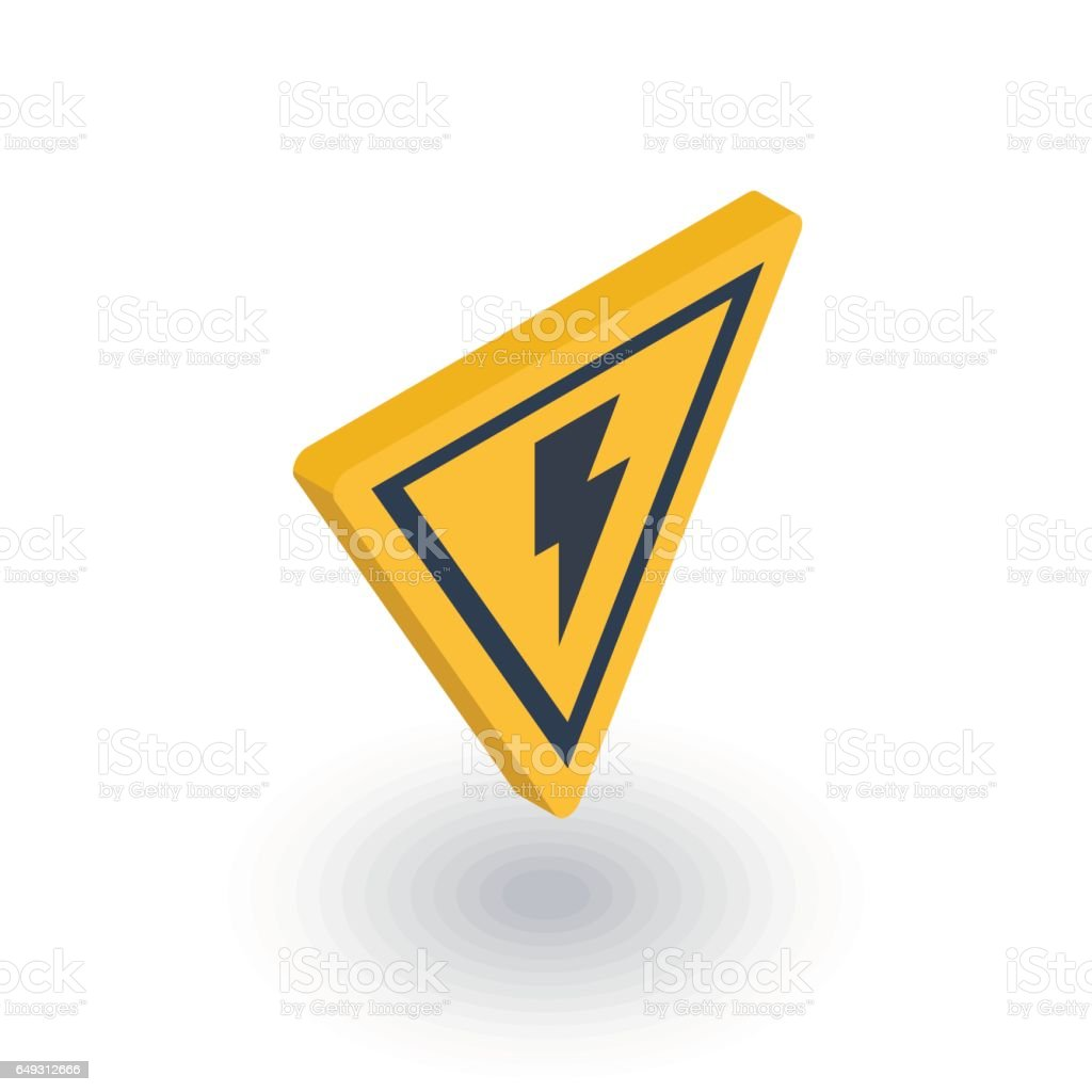 Sign of danger, high voltage isometric flat icon. 3d vector vector art illustration