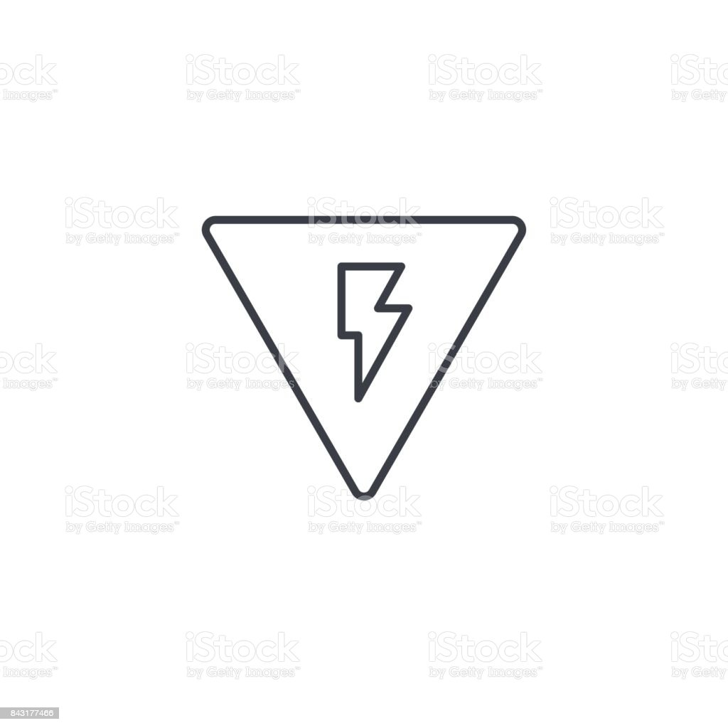 Sign of danger, high voltage thin line icon. Linear vector symbol vector art illustration