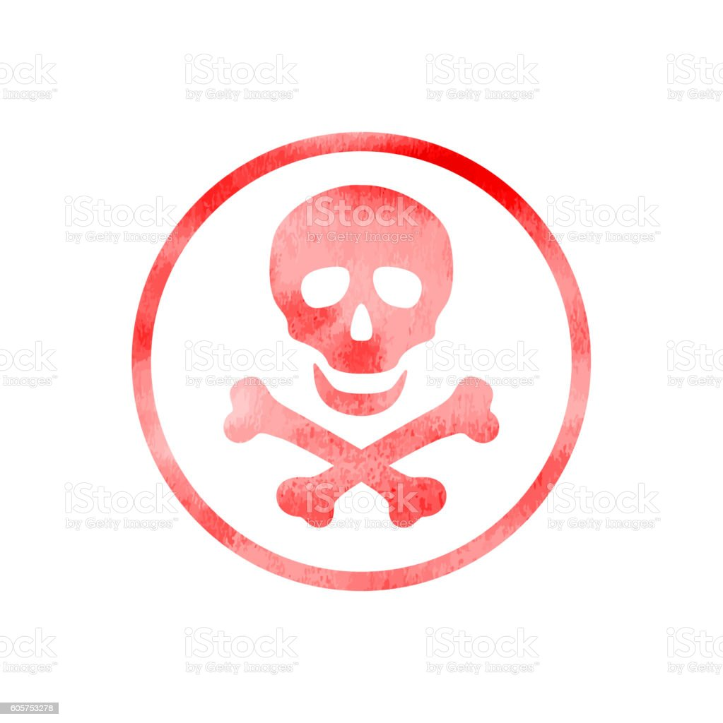 Sign of danger icon with watercolor texture vector art illustration