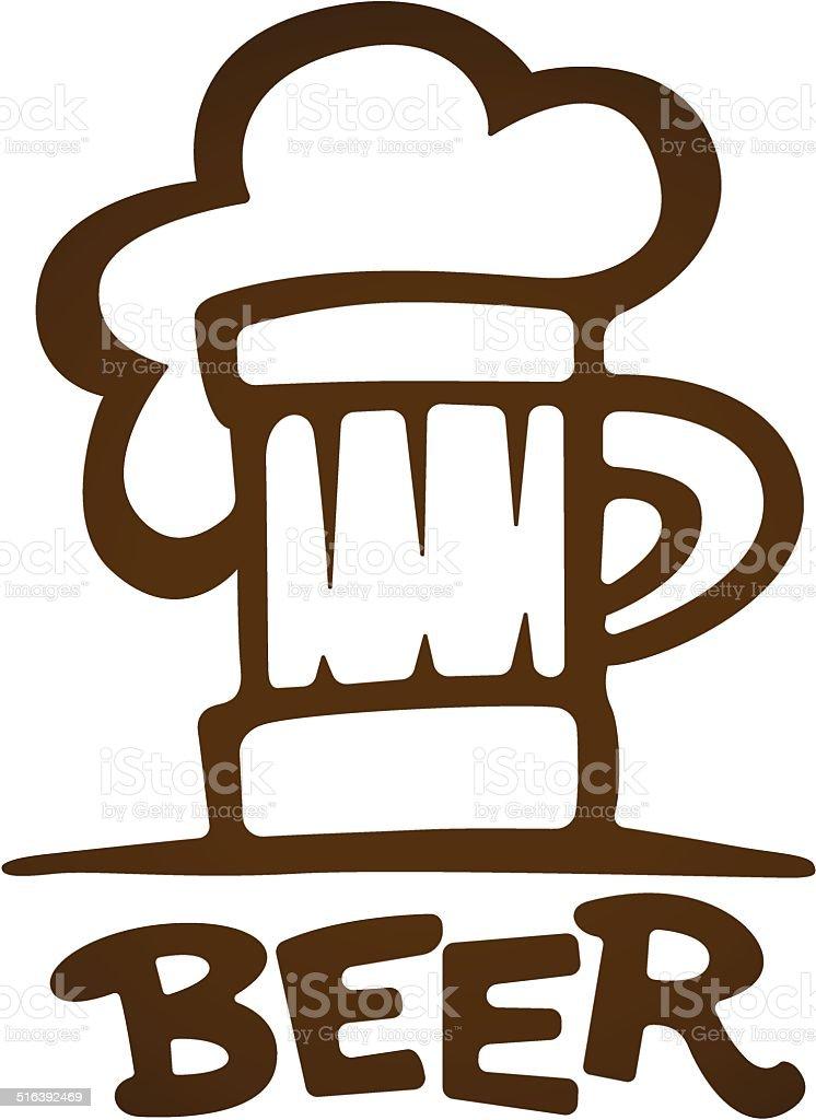 Znak Kubek do piwa dopasowany krój stockowa ilustracja wektorowa royalty-free