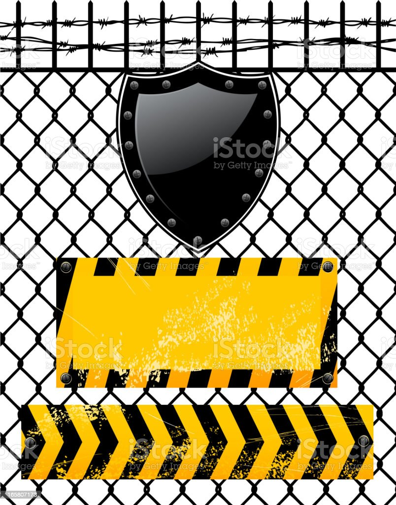 sign on chainlink fence vector art illustration