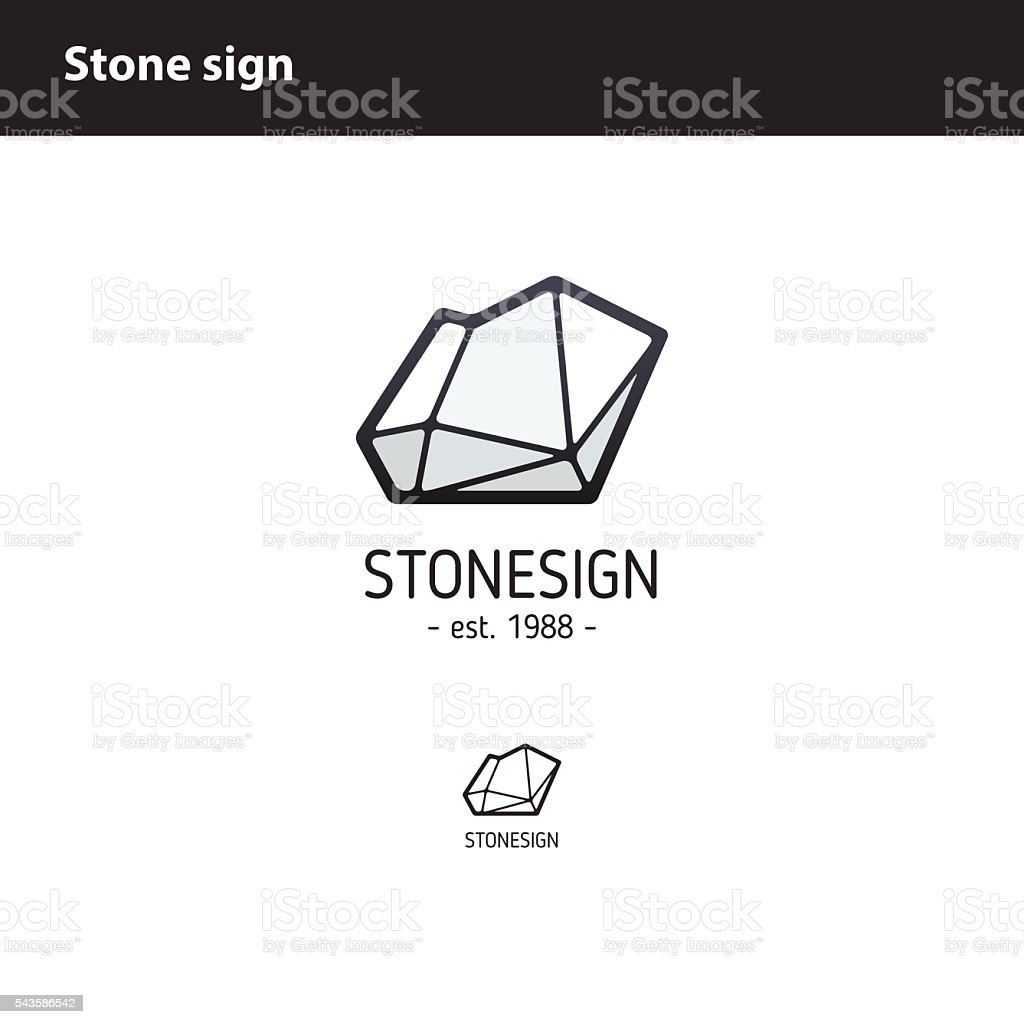 sign  polygonal stone vector art illustration