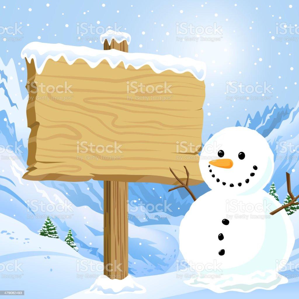 Sign Post at Ski Mountain vector art illustration