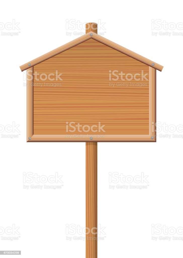 Sign posts - wooden house, lodge or cottage shaped board - for sale sign, direction sign or any other display board. Isolated vector illustration on white background. vector art illustration