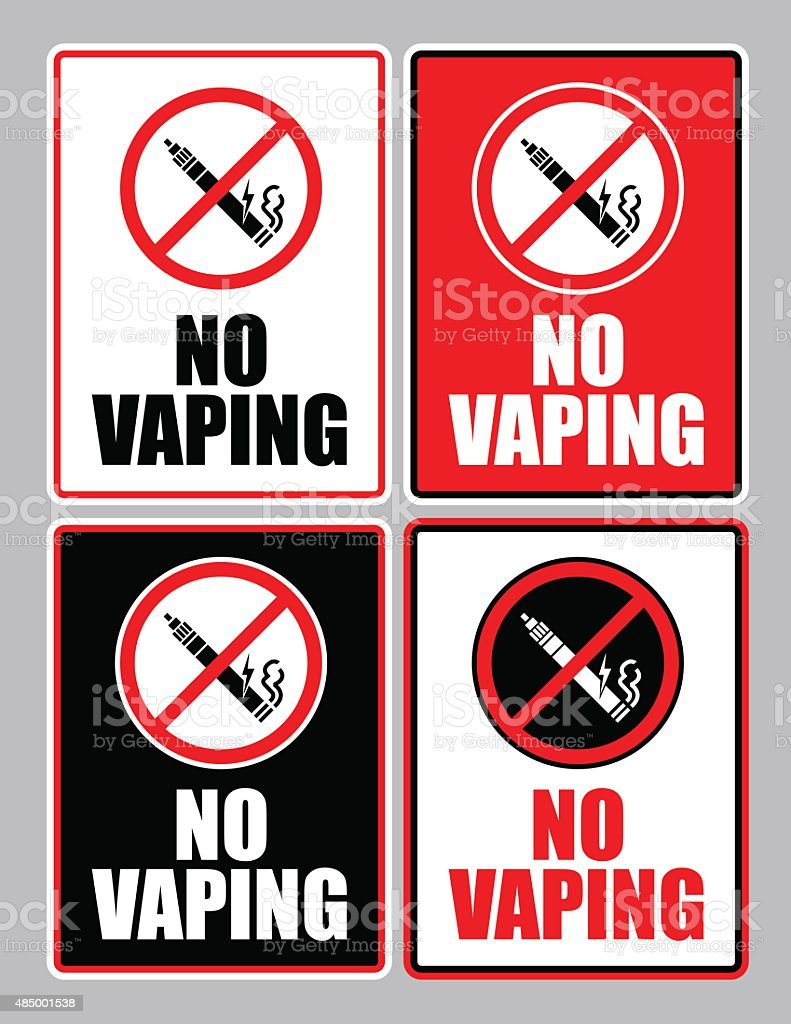 NO VAPING Sign set vector art illustration