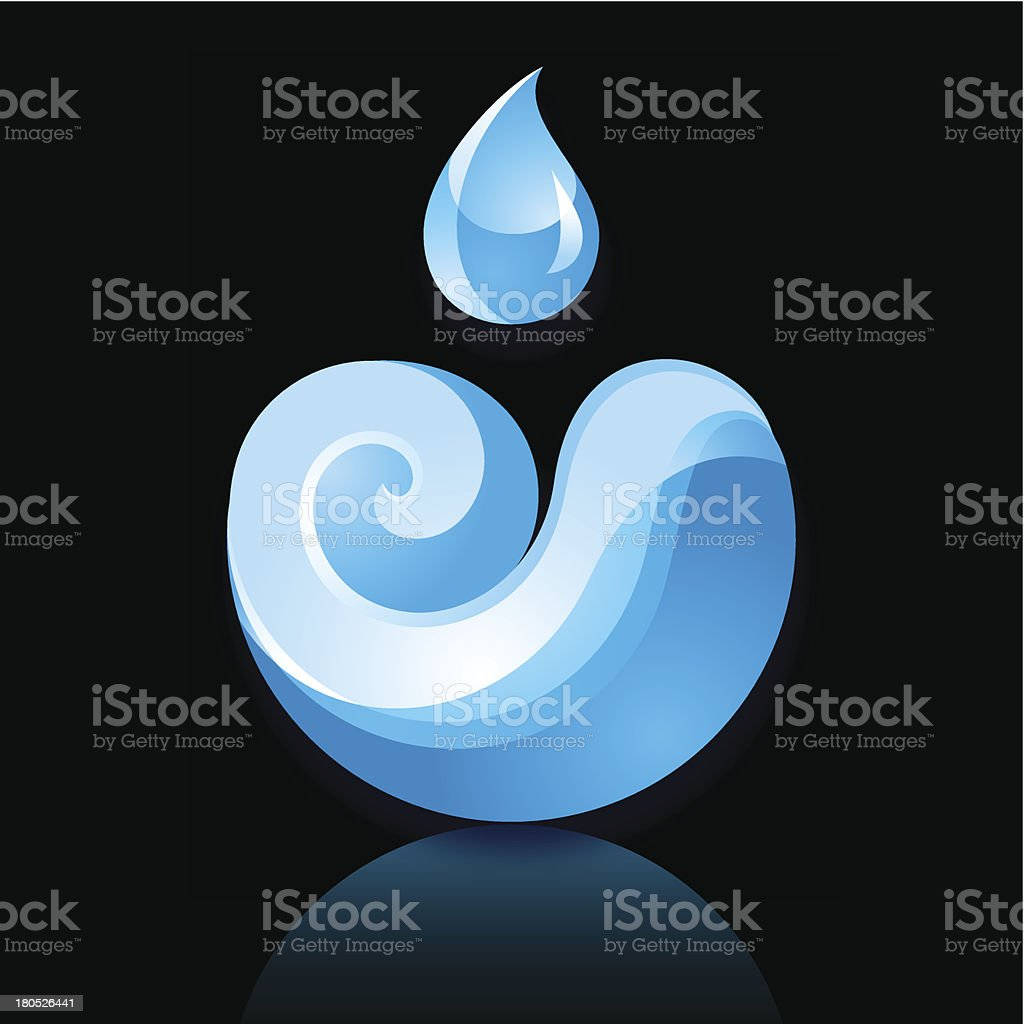 Sign Wave a Drop blue with reflection on black background royalty-free stock vector art