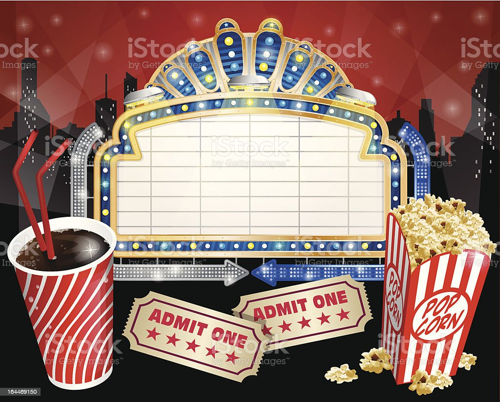 Sign with Popcorn and Cola vector art illustration