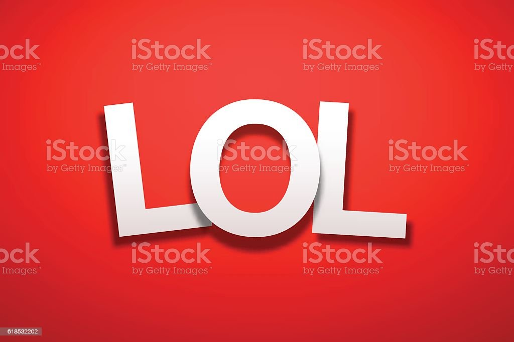 LOL Sign with Red Background - Paper Font vector art illustration