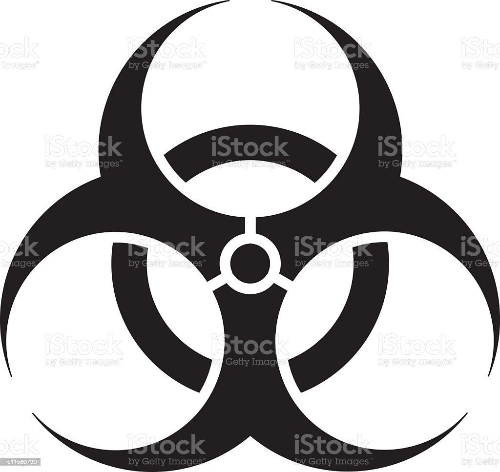 Signage, biohazard icon, hospital and chemical waste vector art illustration