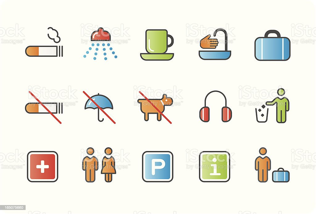 signage icons – colour 01 royalty-free stock vector art