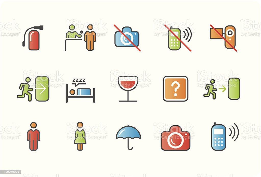 signage icons – colour 04 vector art illustration