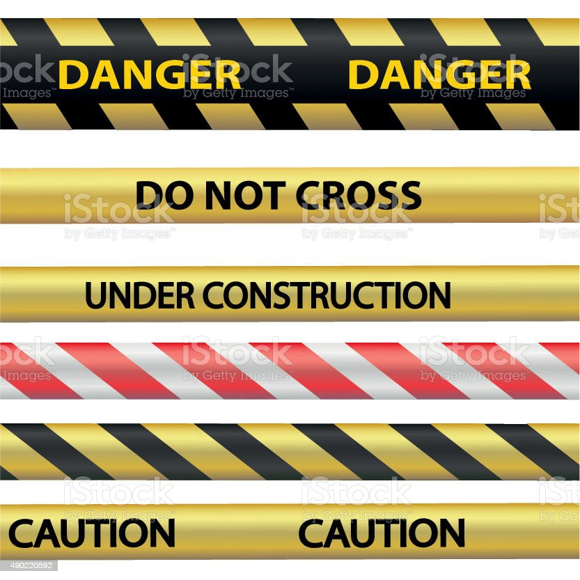 Signal warning tape vector art illustration