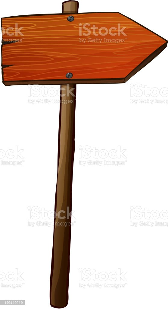 Signboard arrow made of wood royalty-free stock vector art