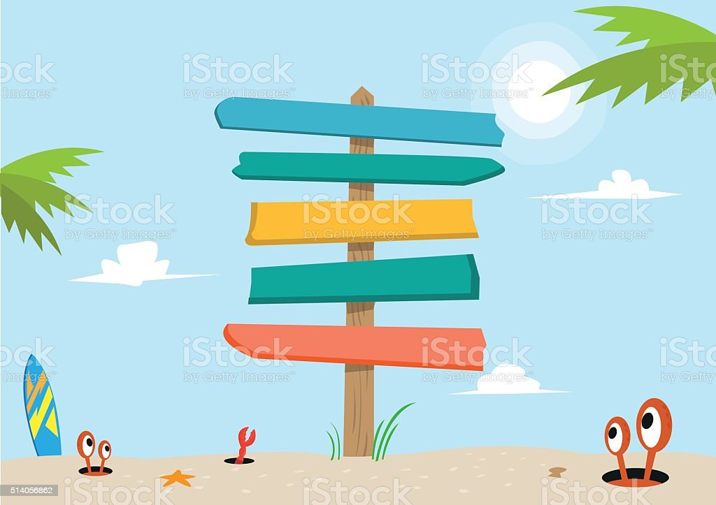 Signboard on a beach concept. Editable Clip Art. vector art illustration