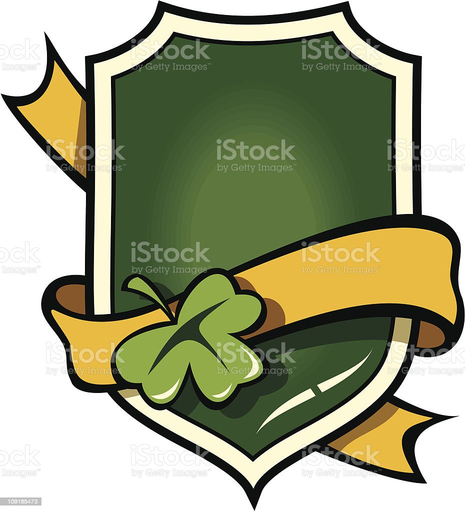 Signboard with ribbon in Irish style royalty-free stock vector art