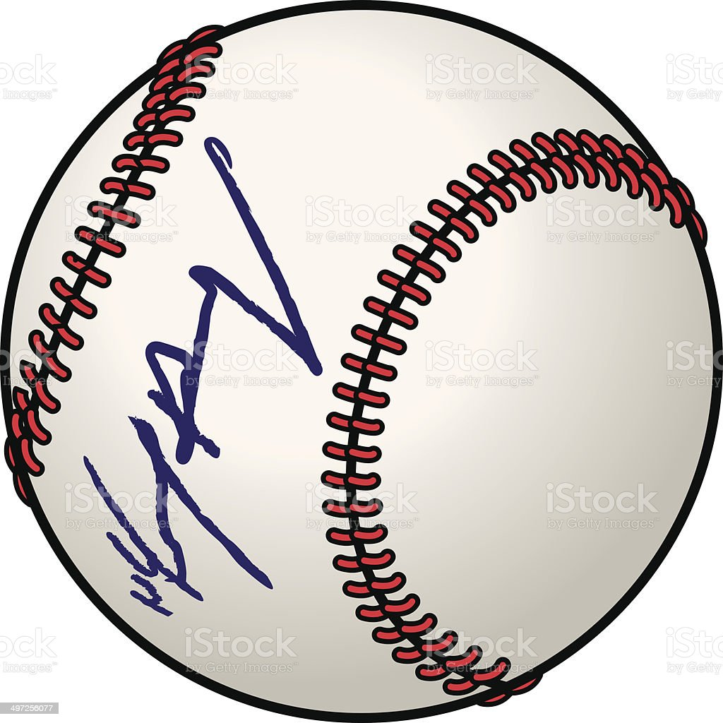 Signed Baseball vector art illustration