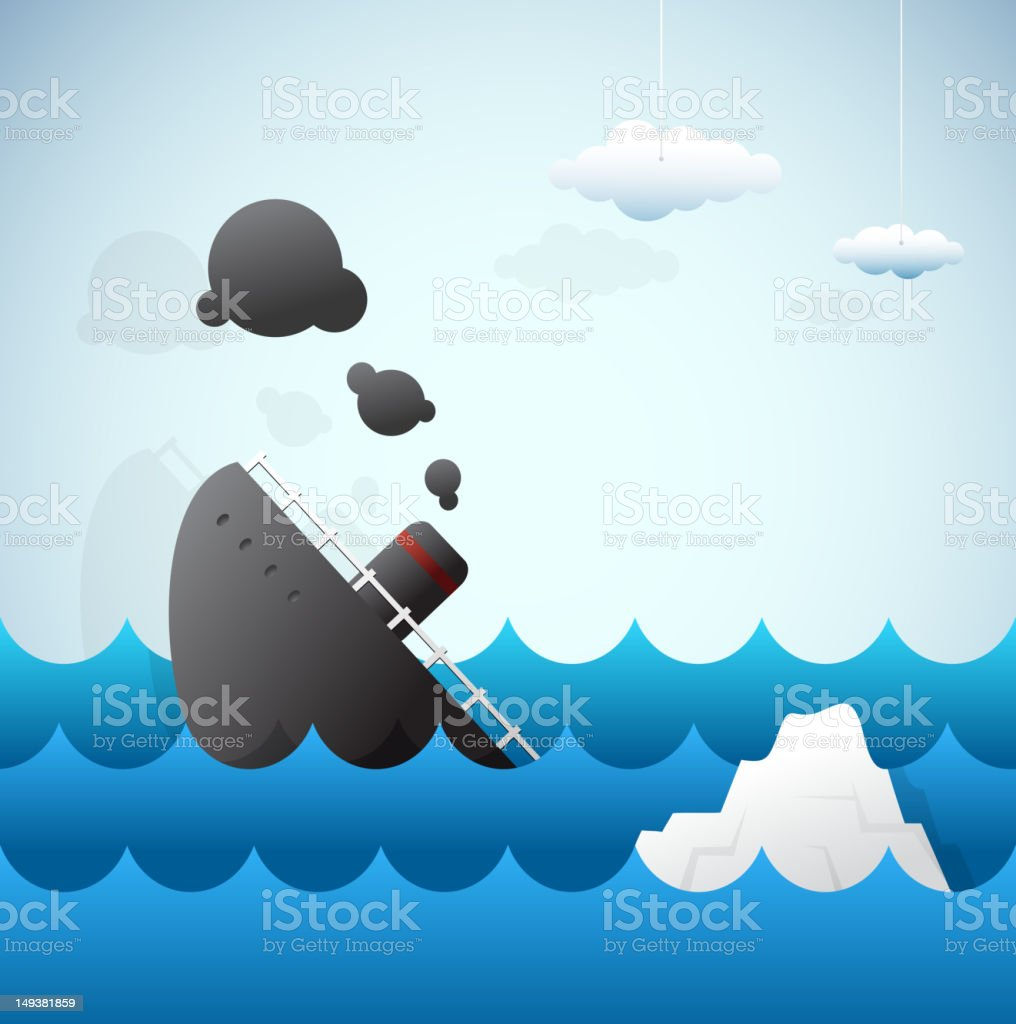 Significant places and events in our history. Titanic disaster vector art illustration
