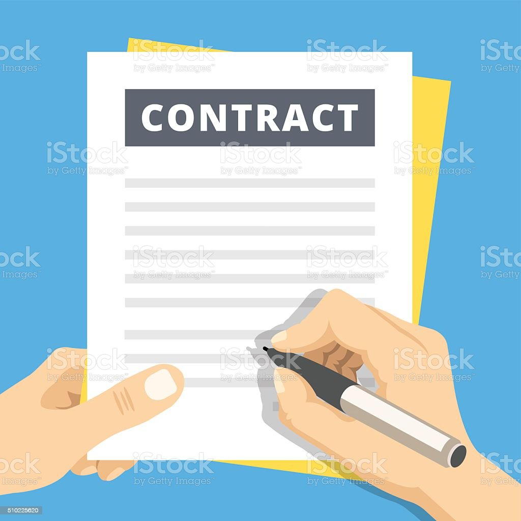 Signing a contract flat illustration. Hand with pen sign contract vector art illustration