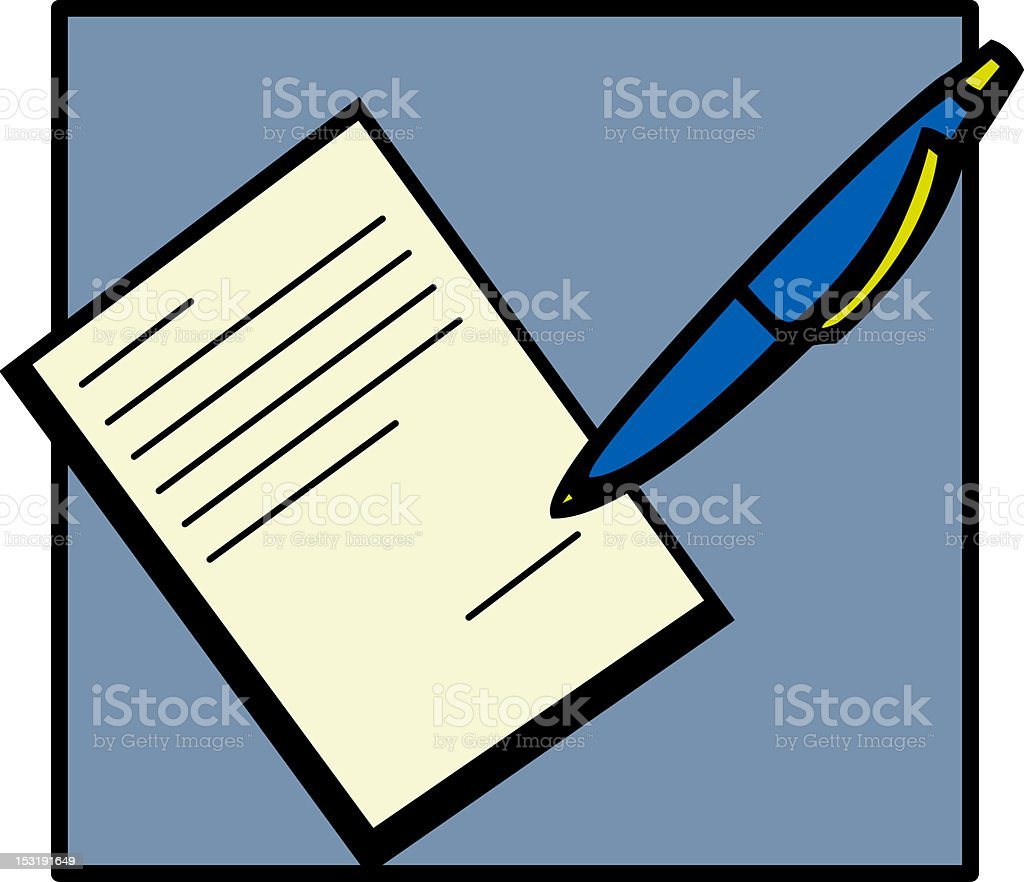 signing a document vector art illustration